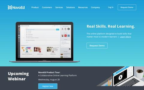 Screenshot of Home Page novoed.com - NovoEd: Online Learning Platform | Corporate Training, Education & Development - captured Aug. 22, 2019