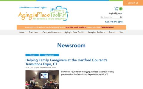 Screenshot of Press Page aginginplacetoolkit.com - Newsroom - Homecare Guide | Aging In Place Toolkit - captured Nov. 24, 2017