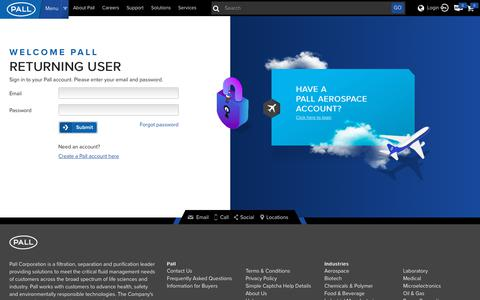 Screenshot of Login Page pall.com - Login - captured March 28, 2019