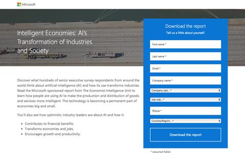 Screenshot of Landing Page microsoft.com - Intelligent Economies | Microsoft - captured Oct. 31, 2018