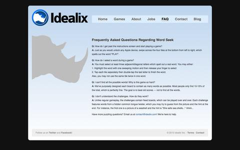 Screenshot of FAQ Page idealix.com - Idealix Inc. - FAQ - captured Oct. 6, 2014
