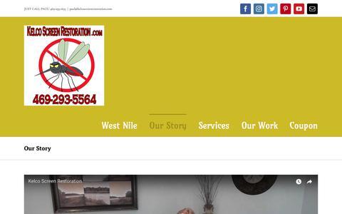Screenshot of Home Page kelcoscreenrestoration.com - Our Story - Kelco Screen Restoration - captured Sept. 20, 2018