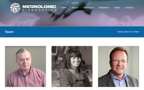 Screenshot of Team Page metabolomicdiagnostics.com - Team – Metabolomic Diagnostics - captured Oct. 17, 2018