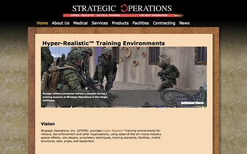 Screenshot of Home Page strategic-operations.com - Strategic Operations | Hyper Realistic Tactical Training - captured Oct. 7, 2014