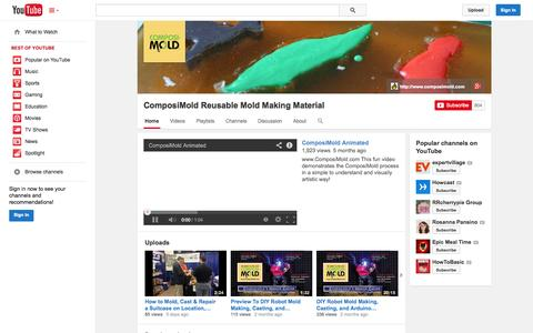 Screenshot of YouTube Page youtube.com - ComposiMold Reusable Mold Making Material  - YouTube - captured Oct. 23, 2014