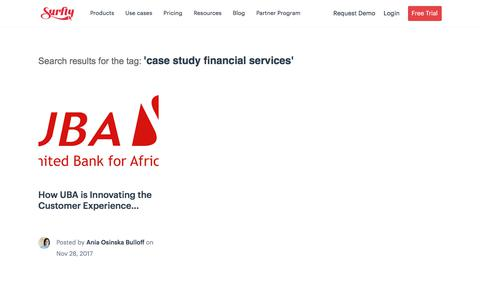 Screenshot of Case Studies Page surfly.com - case study financial services Archives - Surfly - captured Jan. 3, 2020