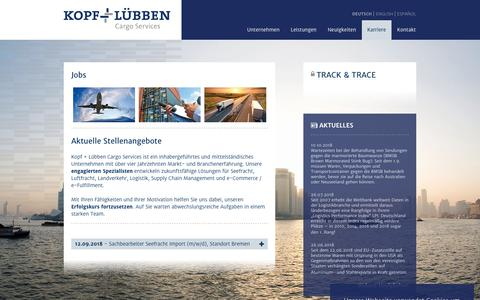 Screenshot of Jobs Page kopf-luebben.com - Kopf+Lübben: Jobs - captured Oct. 16, 2018