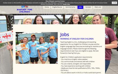Screenshot of Jobs Page englishforchildren.com - Jobs - English For Children - captured July 19, 2018