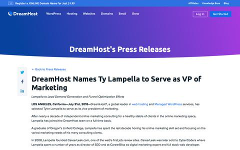 Screenshot of Press Page dreamhost.com - DreamHost Names Ty Lampella to Serve as VP of Marketing  – DreamHost - captured Feb. 21, 2020