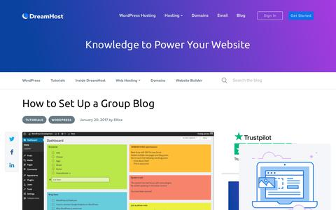 Screenshot of Blog dreamhost.com - How to Set Up a Group Blog - Website Guides, Tips and Knowledge - captured Feb. 21, 2020