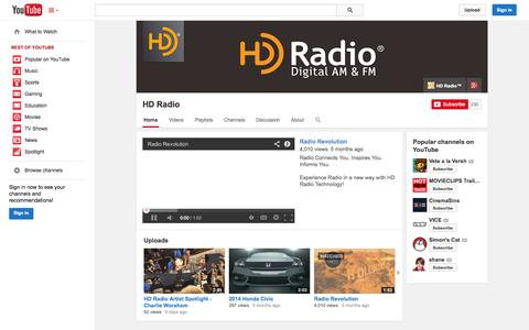 Screenshot of YouTube Page youtube.com - HD Radio  - YouTube - captured Oct. 22, 2014