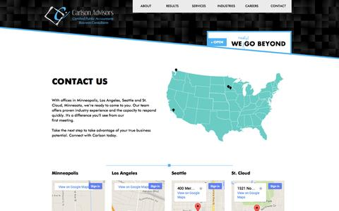 Screenshot of Contact Page Locations Page carlson-advisors.com - Locations | Minneapolis, Seattle, Los Angeles & St. Cloud | Carlson Advisors - captured Oct. 22, 2014