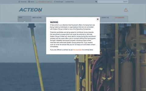 Screenshot of Home Page acteon.com - Defining Subsea Services | Acteon - captured Sept. 19, 2014