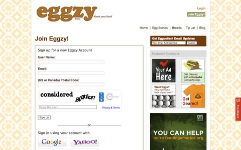 Screenshot of Signup Page eggzy.net - Eggzy: 		Join Eggzy! - captured Oct. 2, 2014
