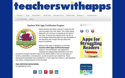 Screenshot of Developers Page teacherswithapps.com - Developers - captured Oct. 27, 2014