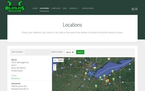 Screenshot of Locations Page relentlessohio.com - Locations - Relentless Recovery - captured Nov. 30, 2016