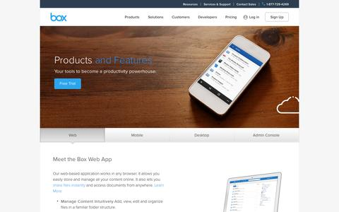 Screenshot of Products Page box.com - Product Features Overview | Box - captured Nov. 14, 2015