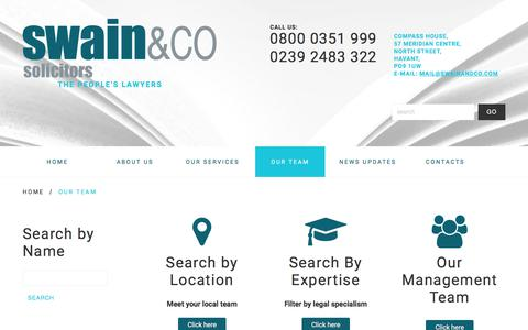 Screenshot of Team Page swainandco.com - Our Team - Swain & Co Solicitors - Havant/Portsmouth, Southampton, Liverpool - The people's lawyersSwain & Co Solicitors – Havant/Portsmouth, Southampton, Liverpool - captured April 25, 2018
