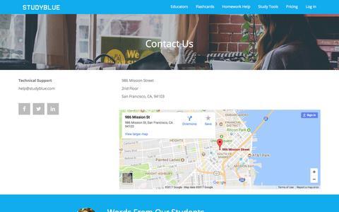 Screenshot of Contact Page studyblue.com - Contact Us | StudyBlue - captured Sept. 27, 2017