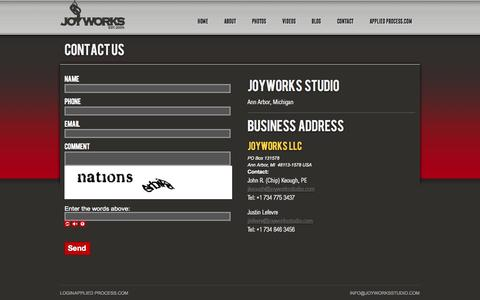 Screenshot of Contact Page joyworksstudio.com - Contact Information for Joyworks Studio - captured Oct. 6, 2014