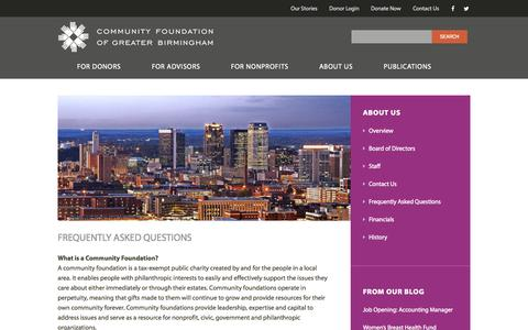 Screenshot of FAQ Page foundationbirmingham.org - Frequently Asked Questions - captured Nov. 2, 2014