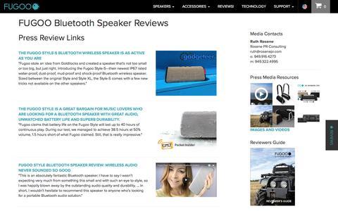 Screenshot of Press Page fugoo.com - FUGOO Bluetooth Speaker Reviews, Awards and Press Reviews - captured May 9, 2017