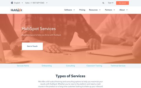 Screenshot of Services Page hubspot.com - HubSpot Services | Personalized Advice and Resources for Your Inbound Business - captured Nov. 30, 2017