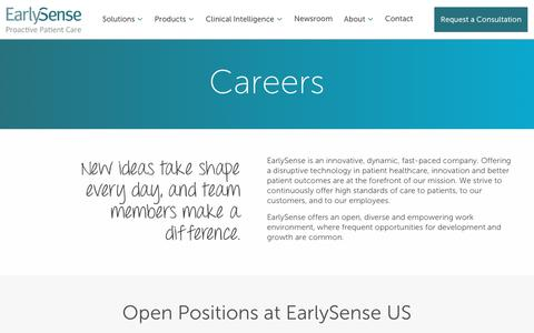 Screenshot of Jobs Page earlysense.com - Careers - Early Sense - captured March 21, 2019