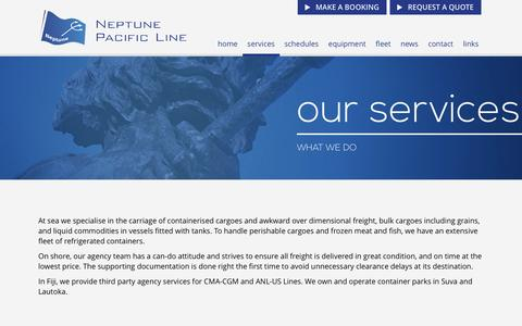 Screenshot of Services Page neptunepacific.com - New Page - captured Dec. 7, 2016