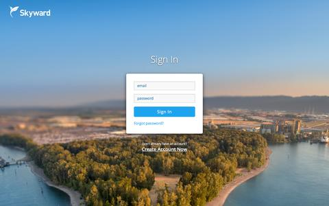 Screenshot of Login Page skyward.io - Sign In to Skyward | Manage your professional drone business - captured Feb. 17, 2016