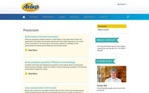 Screenshot of Press Page aviko.com - Aviko News | News about Aviko worldwide - - captured Oct. 4, 2018