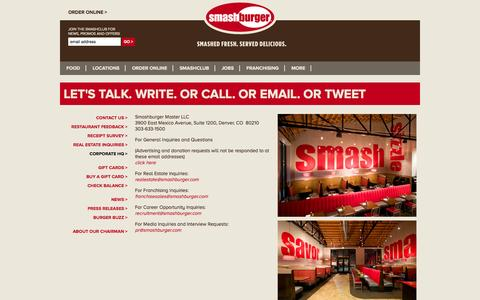 Screenshot of Contact Page smashburger.com - SmashBurger Contact Us - captured Sept. 17, 2014