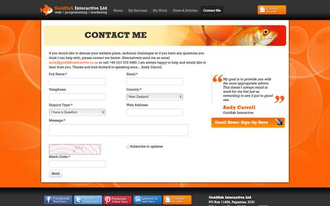 Screenshot of Contact Page goldfishinteractive.co.nz - Contact Me | Goldfish Interactive Ltd - captured Oct. 3, 2014