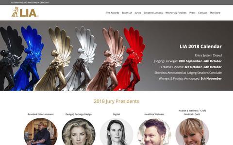 Screenshot of Home Page liaawards.com - LIA | London International Awards - captured Sept. 27, 2018