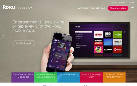 Screenshot of Home Page roku.com - Roku   Streaming TV & Media Player - captured Jan. 5, 2016