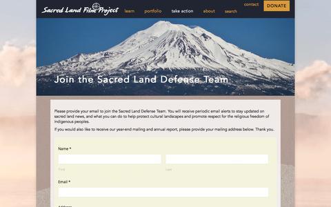 Screenshot of Signup Page sacredland.org - Join the Sacred Land Defense Team – Sacred Land - captured Oct. 4, 2017