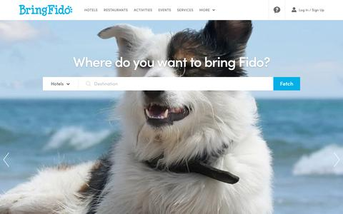 Screenshot of Home Page bringfido.com - BringFido.com - Pet Friendly Hotel & Dog Travel Directory - captured Sept. 21, 2018