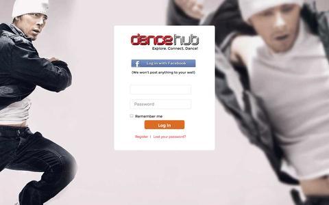 Screenshot of Login Page dancehub.com - DanceHub › Log In - captured Sept. 30, 2014