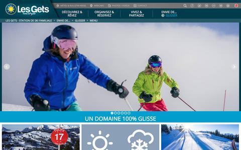 Screenshot of Menu Page lesgets.com - Station de ski Alpes, Haute-Savoie LES GETS - Vacances, week-end famille - captured July 18, 2018