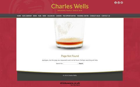 Screenshot of FAQ Page charleswellsltd.co.uk - Page Not Found - Charles Wells - captured Nov. 4, 2016