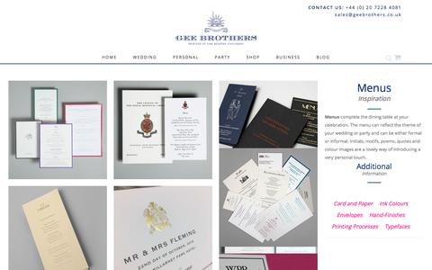 Screenshot of Menu Page geebrothers.co.uk - Menu Inspiration & ideas - Wedding Stationery   GeeBrothers.co.uk - captured July 16, 2018