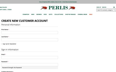 Screenshot of Signup Page perlis.com - Create New Customer Account - captured Sept. 27, 2018