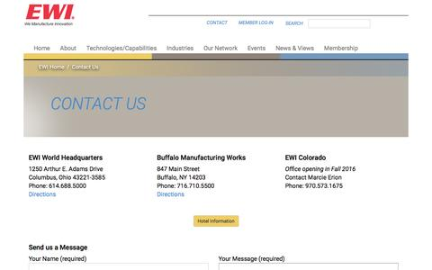 Screenshot of Contact Page ewi.org - Contact Us | Materials Joining, Forming, Testing, Modeling, and Engineering Consulting Services – EWI - captured July 10, 2016