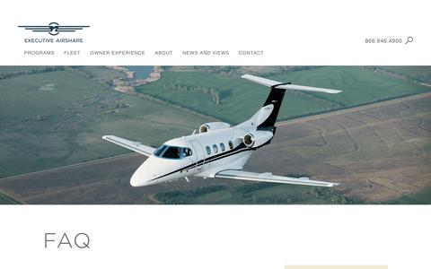 Screenshot of FAQ Page execairshare.com - Executive AirShare - captured Nov. 14, 2016
