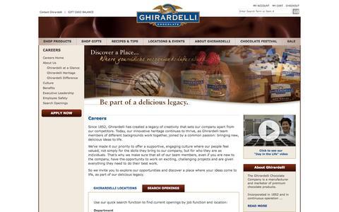 Screenshot of Jobs Page ghirardelli.com - Ghirardelli - Premium Chocolate and Chocolate Gifts - captured Oct. 30, 2014