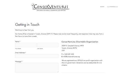 Screenshot of Contact Page conserventures.org - Contact Us — ConserVentures - captured July 15, 2016
