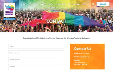 Screenshot of Contact Page sdpride.org - Contact - San Diego LGBT Pride - captured Sept. 23, 2018