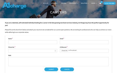 Screenshot of Jobs Page a1charge.com - Careers – A1 Charge Corp - captured Oct. 2, 2018