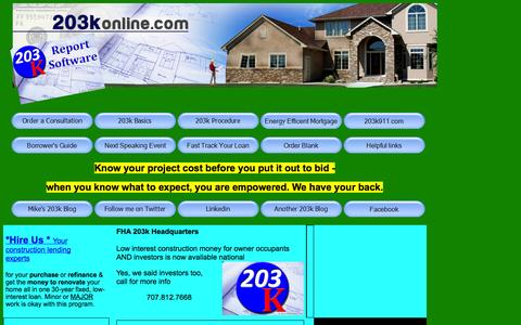 Screenshot of Home Page 203konline.com - HUD FHA 203k certified consultant Mike Young approved in all states - captured Oct. 6, 2014