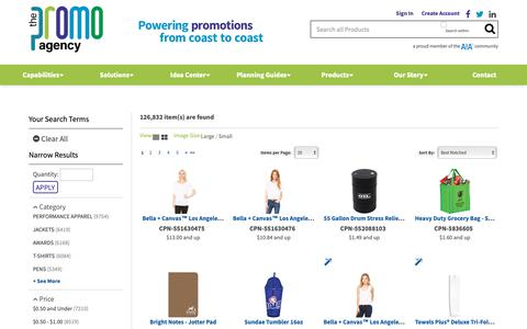 Screenshot of Products Page thepromoagency.net - Product Results - The Promo Agency - captured Oct. 2, 2018